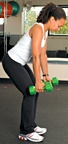 Chelsea Cooper demonstrates a dumbbell row.