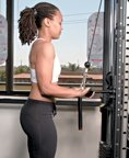 Chelsea Cooper demonstrates a tricep cable pulldown. - Copyright – Stock Photo / Register Mark