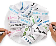 A plate full of strips of paper that have healthy words printed on them. - Copyright – Stock Photo / Register Mark