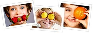Girl holding orange up to her eye. - Copyright – Stock Photo / Register Mark