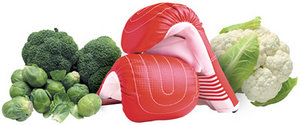 Assorted vegetables and a boxing glove. - Copyright – Stock Photo / Register Mark