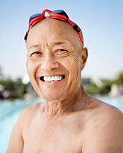 Eldery by the pool - Copyright – Stock Photo / Register Mark
