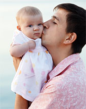 Father kissing baby