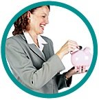 Woman laughs as she places a coin in a piggy bank.