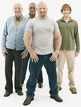Four healthy men of varying age and race. - Copyright – Stock Photo / Register Mark