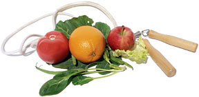 Fruits and jump rope - Copyright – Stock Photo / Register Mark