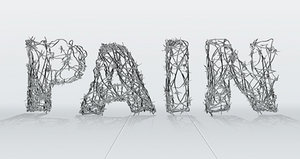 The word pain spelled out with barbed wire. - Copyright – Stock Photo / Register Mark