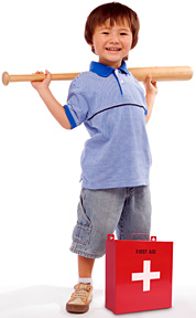 Kid with baseball bat safety - Copyright – Stock Photo / Register Mark