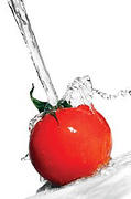 Tomato being cleaned by water. - Copyright – Stock Photo / Register Mark