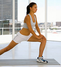 Lady stretching in front of window - Copyright – Stock Photo / Register Mark